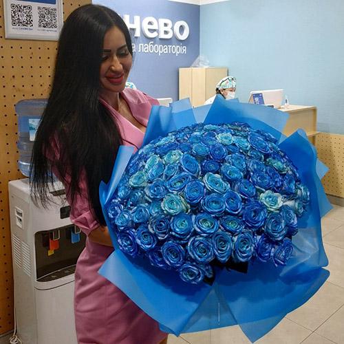 Фото товару 101 синя троянда