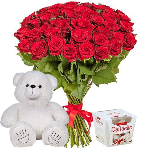"картинка 51 троянда, ведмедик і ""Raffaello"""