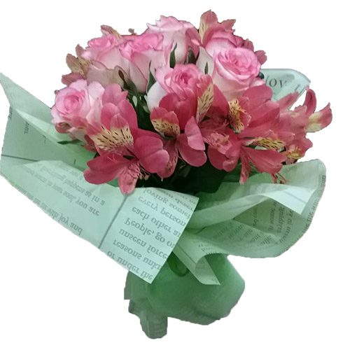 """Букет """"Рожевий настрій"""" троянди та альстромерії"""