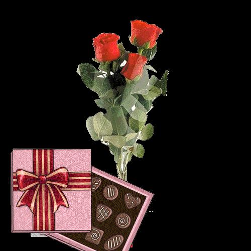 Фото товара 3 червоні троянди з цукерками во Львове