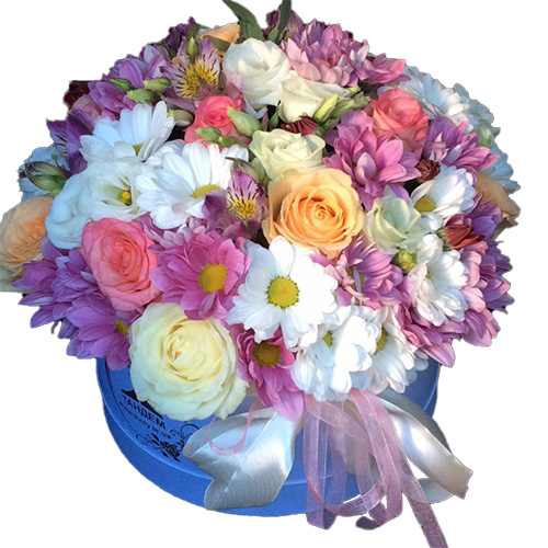 Капелюшна коробка «Янголятко» мікс квітів