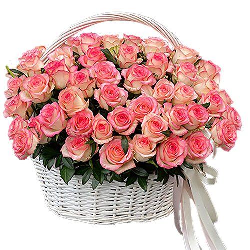 """фото 51 троянда """"Джумілія"""" в кошику"""
