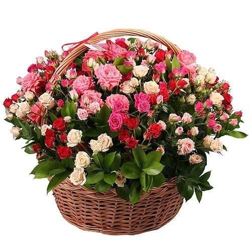 Фото товара 101 кущова троянда в кошику во Львове