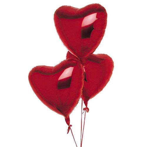 Фото товара 3 фольговані кульки у формі серця во Львове