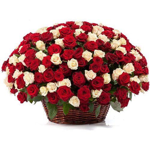Фото товара 101 троянда мікс в кошику во Львове