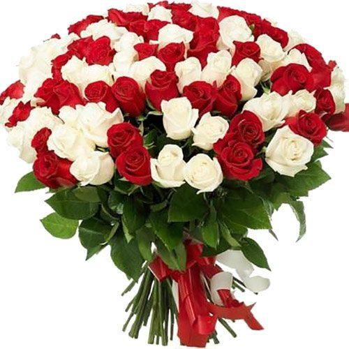 Фото товара 101 червона і біла троянда во Львове
