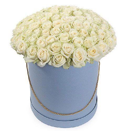 Фото товара 101 троянда біла у капелюшній коробці во Львове