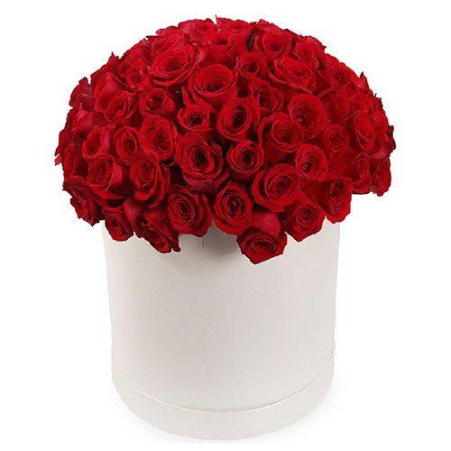 Фото товара 101 троянда червона в капелюшній коробці во Львове
