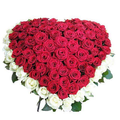 Фото товара 101 троянда серце - біла та червона во Львове
