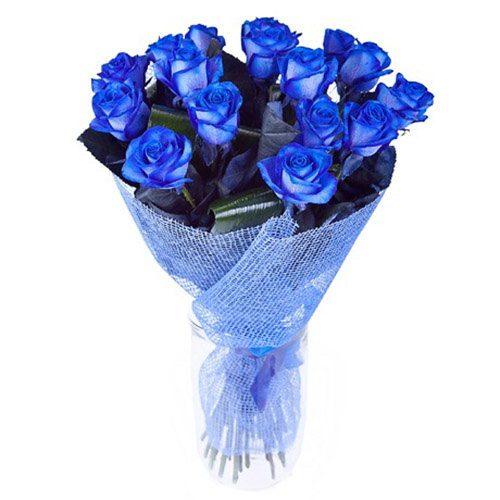 Фото товара 17 блакитних троянд (фарбованих) во Львове