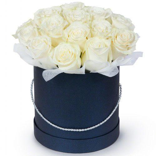 Фото товара 21 біла троянда у капелюшній коробці во Львове
