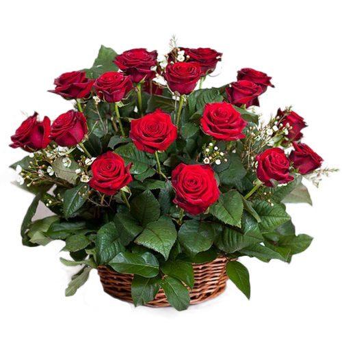 Фото товара 21 червона троянда в кошику во Львове