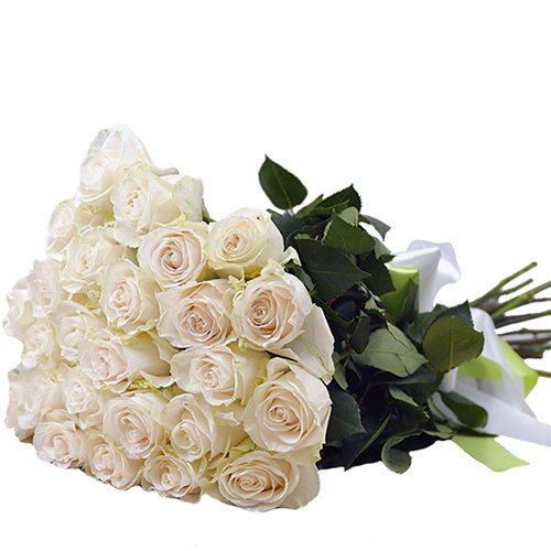 Фото товара 25 білих троянд во Львове