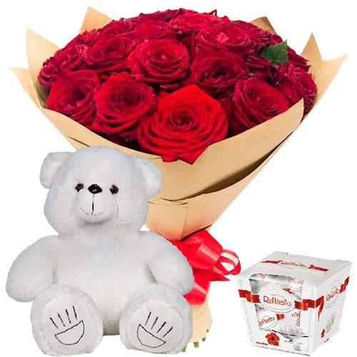 """Фото товара 25 троянд, """"Raffaello"""" та ведмедик во Львове"""