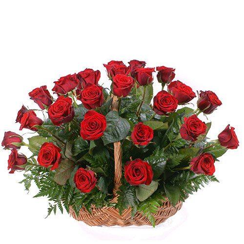Фото товара 35 червоних троянд в кошику во Львове