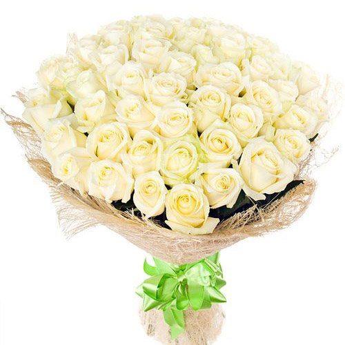 Фото товара 51 біла троянда во Львове