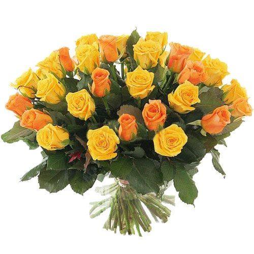 Фото товара 51 жовта і персикова троянда во Львове