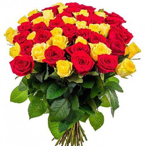 Фото товара 51 троянда червона і жовта во Львове