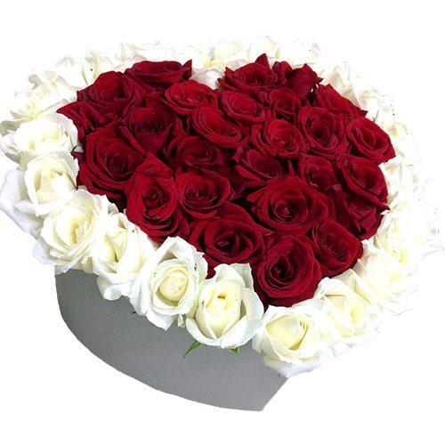 Фото товара 51 троянда серце в коробці во Львове