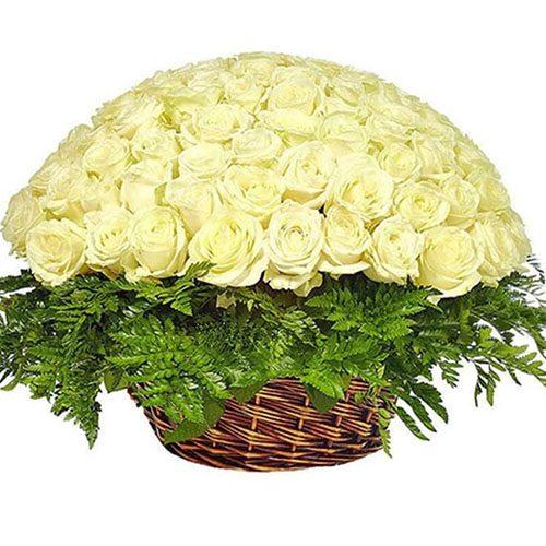Фото товара Кошик 101 біла троянда во Львове