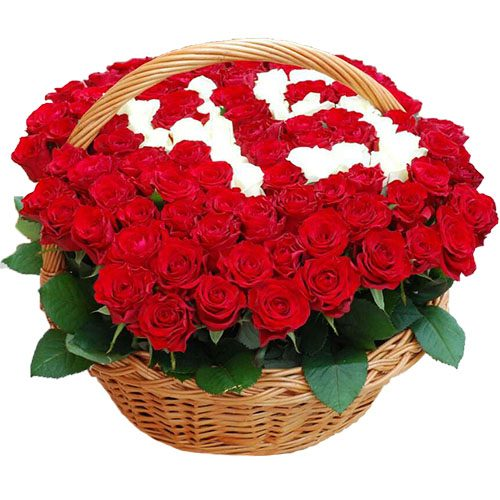 Фото товара 101 троянда з числами в кошику во Львове