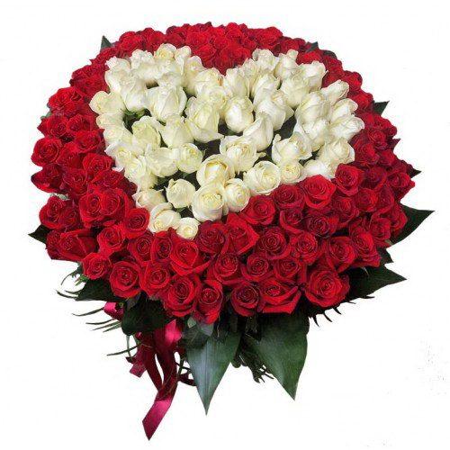Фото товара Серце 101 троянда червона та біла во Львове