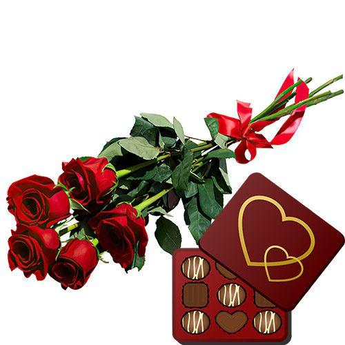 Фото товара 5 червоних троянд із цукерками во Львове