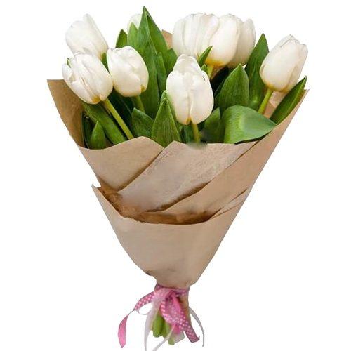 Фото товара 11 білих тюльпанів во Львове