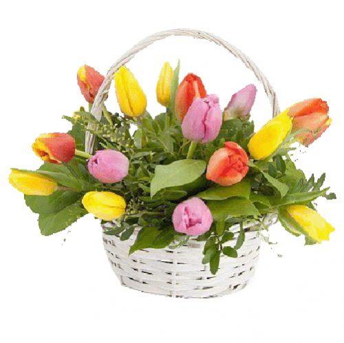 Фото товара 15 тюльпанів у кошику во Львове