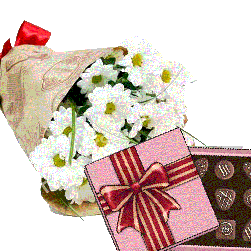 Фото товара 3 хризантеми з цукерками во Львове