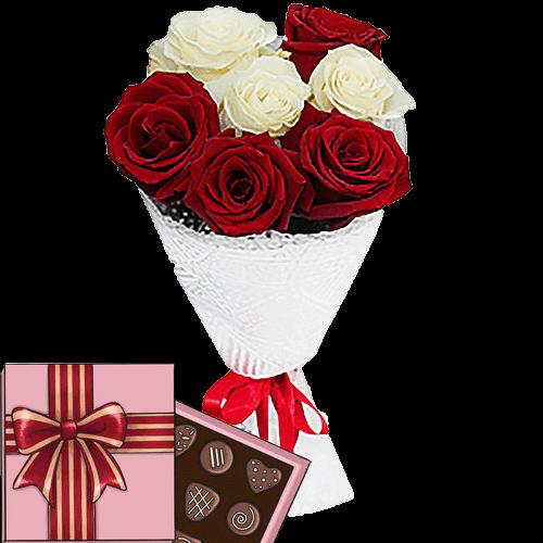 Фото товара 7 троянд мікс із цукерками во Львове