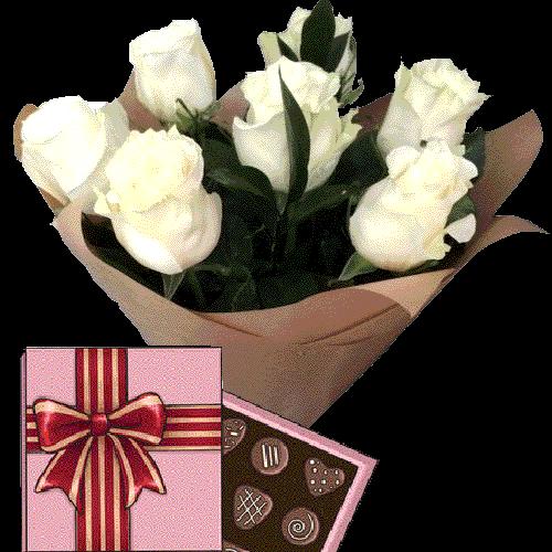 Фото товара 7 білих троянд із цукерками во Львове