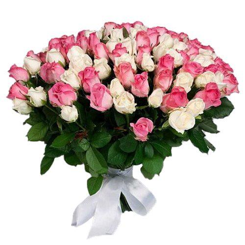 Фото товара 101 біла та рожева троянда во Львове