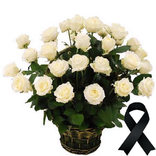 Фото товара 36 білих троянд у кошику во Львове