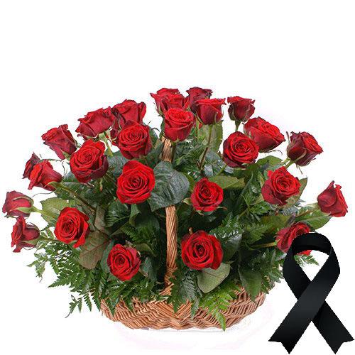Фото товара 36 червоних троянд у кошику во Львове