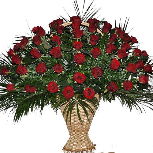 Фото товара Кошик 100 троянд у папороті во Львове