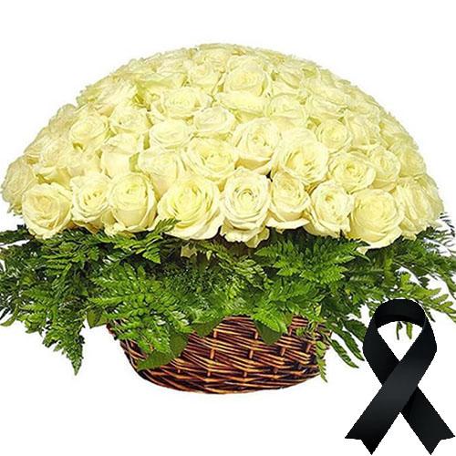 Фото товара 100 білих троянд у кошику во Львове