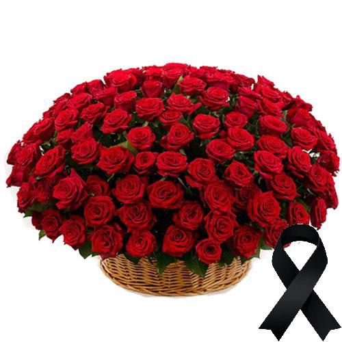 Фото товара 100 червоних троянд у кошику во Львове