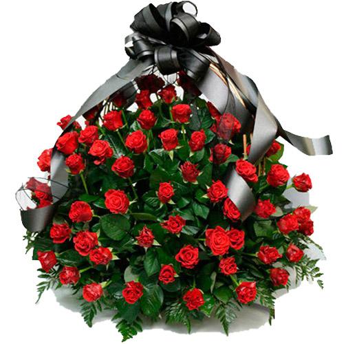 """Фото товара 100 багряних троянд """"Полум'я"""" в кошику во Львове"""