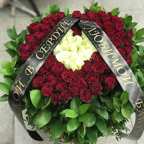 """Фото товара Кошик """"Серце"""" 100 троянд во Львове"""