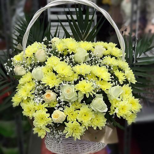 """Фото товара Кошик """"Жовті хризантеми та троянди"""" во Львове"""