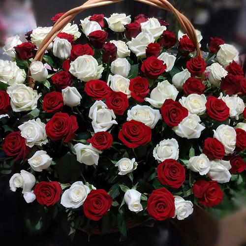 Фото товара Кошик червоних і білих троянд во Львове