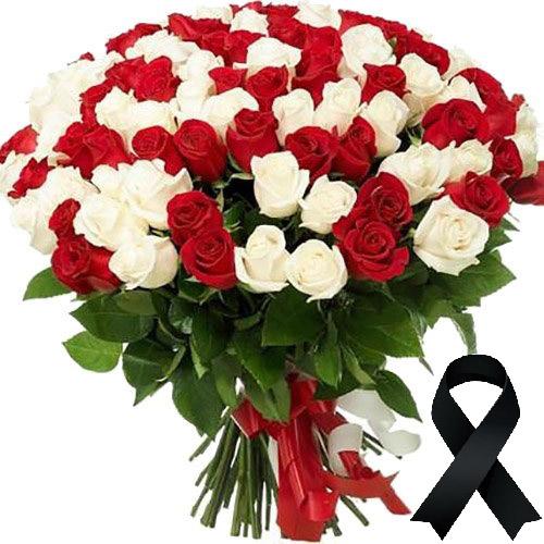 Фото товара 100 червоно-білих троянд во Львове